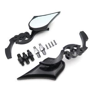 Black Billet Skull Blade Mirror Fit All Honda /Kawasaki /Suzuki Cruiser