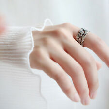 Vintage Antique Silver Unisex Cluster Fish Wrap Wide Band Ring Creative Gift S