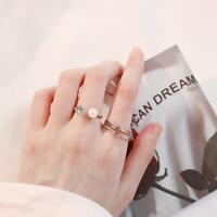 4pcs/set Women Fake Pearl Open Ring Rhinstone Decor Adjustable Ring