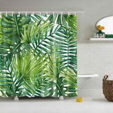 Waterproof Palm Leaf Print Shower Curtain Sheer Panel Bath Hook Extra Long