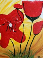 """Primitive FOLK ART PAINTING Red Flowers Southern Outsider ART 16 x 20"""" SIGNED"""