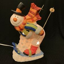Vintage Frosty the Snowman Ceramic Skiing Lighted Christmas Figure 8 3/4�