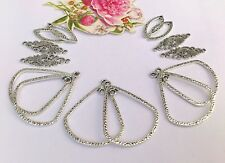 14  Fab Alloy Silver Floral Filigree Teardrop & Earring Chandelier