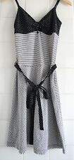 EDC by Esprit White & Navy Stripes & Dots Straps Summer Dress Size XS UK 8-10