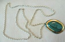 Marbled Stone Effect Pendant Necklace Vintage Costume Jewellery - Goldtone Green