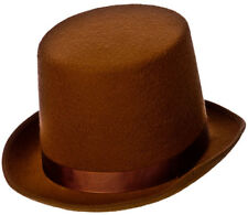 Brown Top Hat Gentlemans Topper Old Fashioned Mens Fancy Dress Hats 1920s 30s