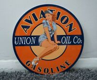 VINTAGE AVIATION PORCELAIN SIGN MOTOR OIL METAL SERVICE PINUP GIRL GASOLINE RARE