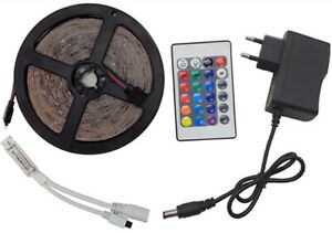 5M16.4FT RGB 3528 300LED Light Bar SMD+44/24Key Remote Control+12V Power adapter