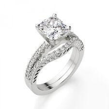 2.50 Ct Cushion Cut Diamond Wedding Ring Band Sets 14K Solid White Gold Size M N