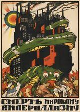 "Russian Propaganda Poster ""DEATH TO WORLD IMPERIALISM"" Soviet Union Communism"