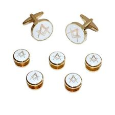 White & Gold Enamelled Masonic Cufflinks & 5 Button Stud Set (X2Aj314A)