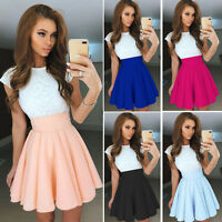Women Party Cocktail Mini Dress Ladies Summer Short Sleeve Skater Swing Dress LY