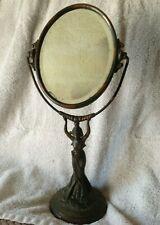Antique Vintage Art Deco Woman Figural Art Noveau Vanity Mirror bronze copper