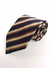 "Mens BRIONI 60""x3.5"" Tie Blue Gold Striped Cotton Silk Necktie Made in Italy"