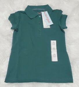 NEW Cat & Jack Girl's School Uniforms Short Sleeve Polo Shirt NWT - Dark Green