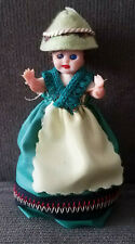 """Vintage Plastic 4 1/2"""" Doll In Green Gown & Hat W Feather"""