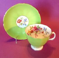 Adderley Pedestal Teacup And Saucer - Green With Flowers - Bone China - England
