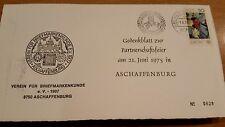Ersttags KlappKarte gestempelt Gedenkblatt zur Partnerschaftsfeier 1975 Aschaffe