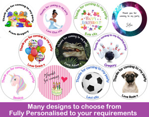 36x Round Personalised Birthday Stickers Labels Thank You For Coming To My Party
