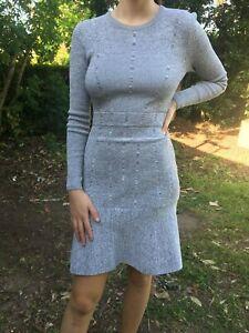 Kookaï Rosetta Knit Dress Sz 1 WINTER MARLE COLOUR Free Post (H12H24H41)
