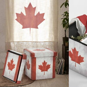 Canada Flag Maple Leaf Storage Ottoman Foldable Storage Organization