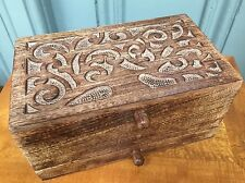 Wooden Vanity Jewellery Trinket Box with Tree Of Life Carving