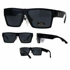 Locs Squared Rectangular Gangster Cholo Plastic Sunglasses All Black