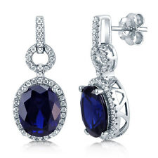 Berricle Silver Oval Simulated Sapphire Cubic Zirconia CZ Halo Dangle Earrings