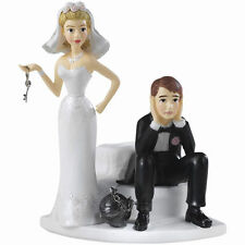 Wilton Ball and Chain Humorous Cake Topper F984 C, Hand-Painted Resin
