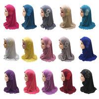 Kids Girls Islamic Muslim Hijab Scarf One Piece Amira Flower Headwear Arab 2-7Y
