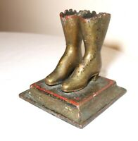rare antique 19th century cast iron pair lady boots match holder door stopper