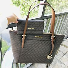 Michael Kors Women PVC Leather Brown Shoulder Tote Bag Purse Handbag and Wallet