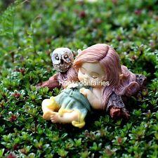 Little Fairy Sleeping w/Owl Miniature Fairy Gnome Hobbit Garden Figurine TO 4260