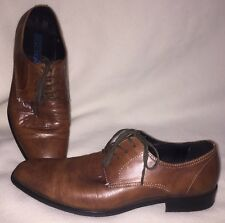 Kenneth Cole Reaction One Man Show Derby Dress Shoes 9.5M Cognac Brown Leather