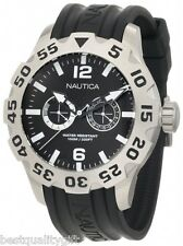 NAUTICA BLACK RUBBER BAND+SILVER TONE S/STEEL DIAL+CHRONO,DAY,DATE WATCH-N16600G