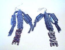 Boucles Oreilles Bleu jean Love Métal  Argenté Macramé Coton perles blue earring