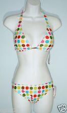 WATERFRONT SURF Swimsuit Size L Sweet Spots 2-pc Halter Bikini Set NWT