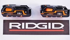 2 RIDGID RIGID 18v 18 VOLT HYPER LITHIUM-ION X4 BATTERIES BATTERY PACKS R840085