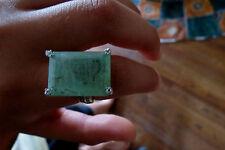 Estate 25 carat Colombian Emerald & Diamond 14k yellow gold ring Sz 7
