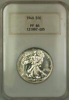 1940 Walking Liberty Silver Half Dollar Coin Old NGC Raised Logo PF-66 GEM Proof