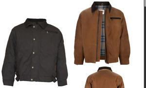 New Burke & Wills Swan Hill BomberJacket Oilskin Stockmans Coat Adult Brown Coat