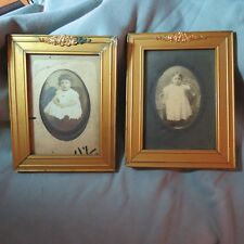 ANTIQUE Baby Photos in Golden Wood Frames w/Metal Decoration, 1880's