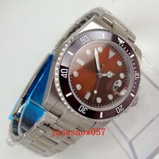 40mm Men's Watch Sterile Brick Red dial Luminous Automatic Watch Sapphire Glass