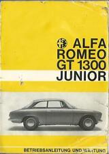 ALFA ROMEO GT 1300 JUNIOR Betriebsanleitung 1967 Bedienungsanleitung  BA