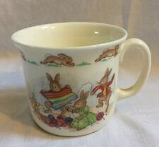 More details for vintage royal doulton bunnykins porcelain child's mug - bunny rabbits knitting