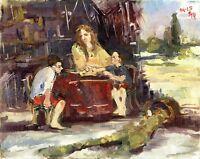 """Russischer Realist Expressionist Öl Leinwand """"Mutter mit Kinder"""" 50x40cm"""