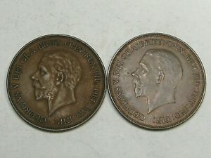 2 High Grade Great Britain George V One Pennies: 1931 & 1932.  #37