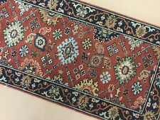 2 X 4 Rust Navy Small Serapi Persian Oriental Area Rug Hand Knotted Geometric