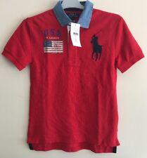 BNWT Polo Ralph Lauren Camisa Polo Niños Chicos// Polo Top Talla 6-7 años (EE. UU. S8)