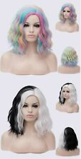 Fashion Rainbow Ombre Curly Synthetic Short Wigs Femme Anime Cosplay Wigs